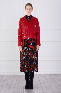 MERGIM Leather Biker Jacket (Red)