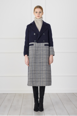 MERGIM Blue Plaid Coat