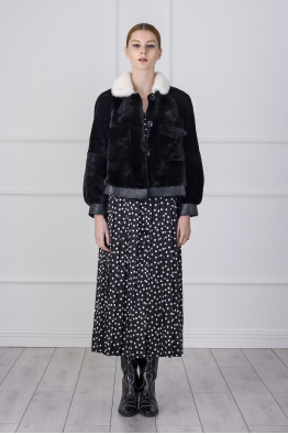 MERGIM Black Fur Jacket