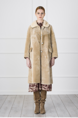 MERGIM Beige Fur Coat
