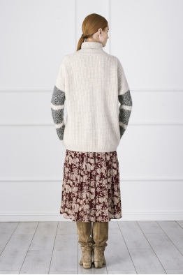 MERGIM Striped Sleeve Cashmere Sweater