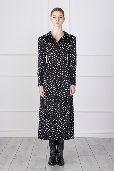Pleated Dress (polka-dot detailed)