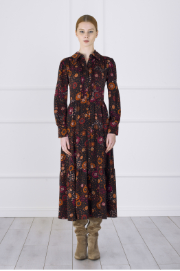 MERGIM Floral Shirt Dress (black)