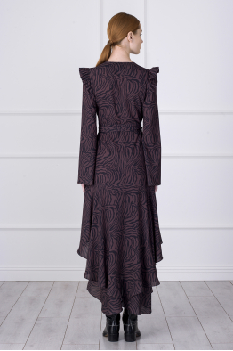 MERGIM Gabrielle Dress (Dark Zebra Pattern)