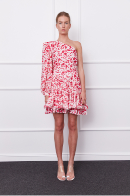 MERGIM Goya Dress (white/fuschia)