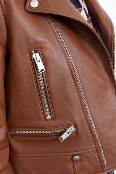 Leather Biker Jacket (Brown) Leather Biker Jacket (Brown)