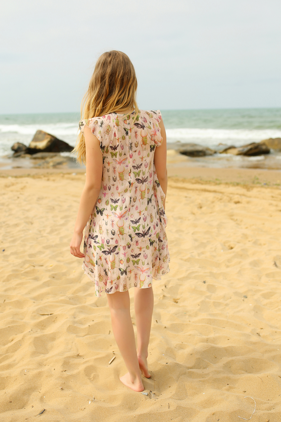 Butterfly Print Dress (Cream)