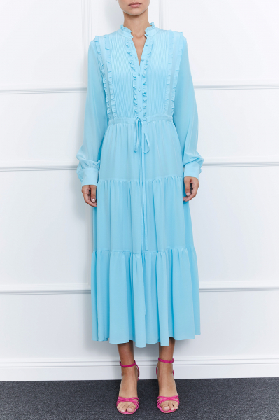 Harper Silk Dress (Blue)