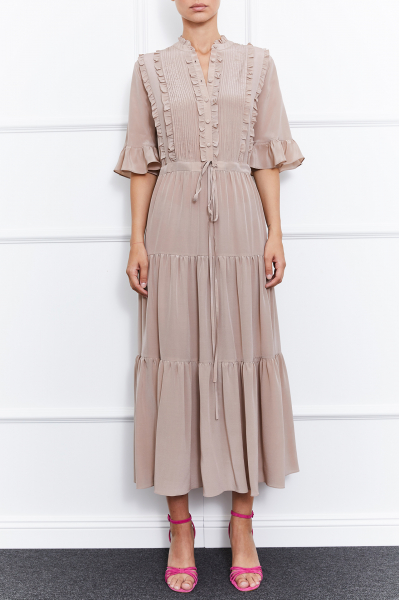 Harper Silk Dress (Beige)