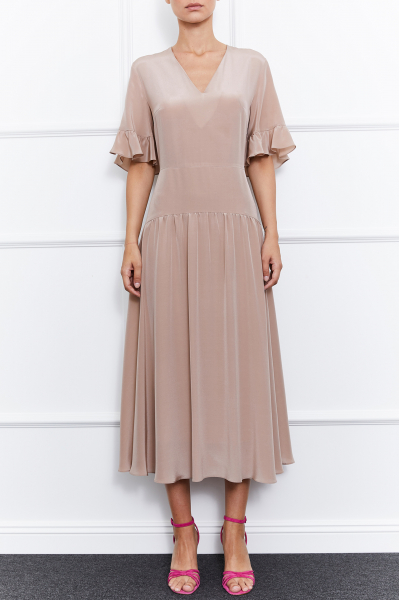 Molly Silk Dress (Beige)
