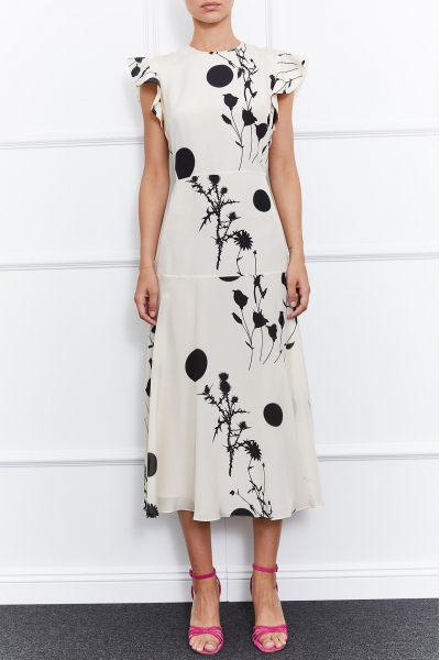 Sierra Silk Dress (White/Black)