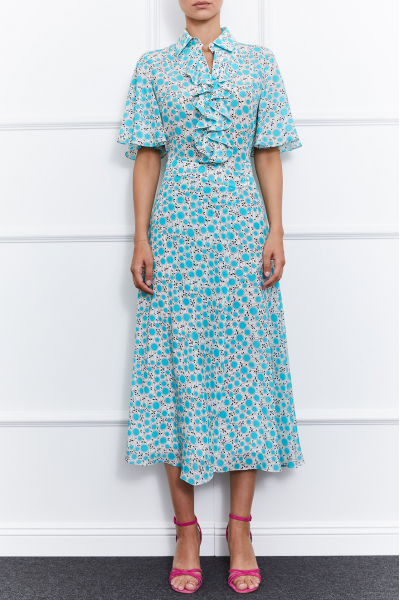 Julie Silk Dress (Blue/White)