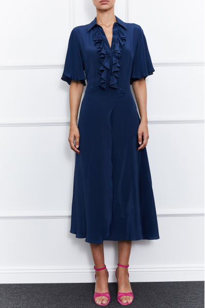 Julie Silk Dress (Navy Blue)