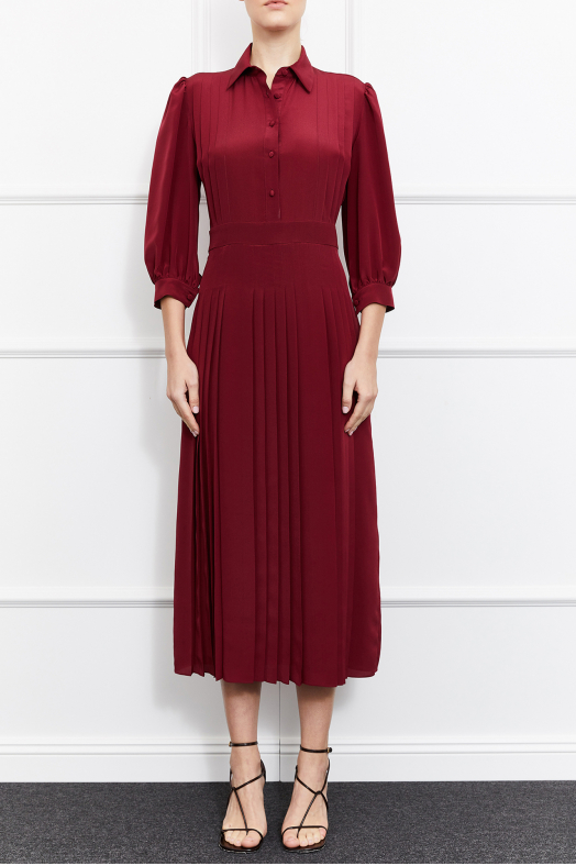 Emma Silk Dress (Burgundy)