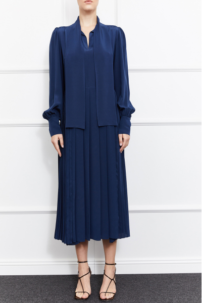 Mimosa Silk Dress (Navy)