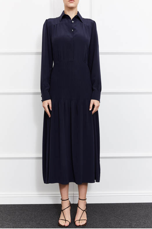 Giselle Silk Dress (Navy)