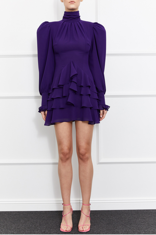 Camellia Turtleneck Dress (Purple)