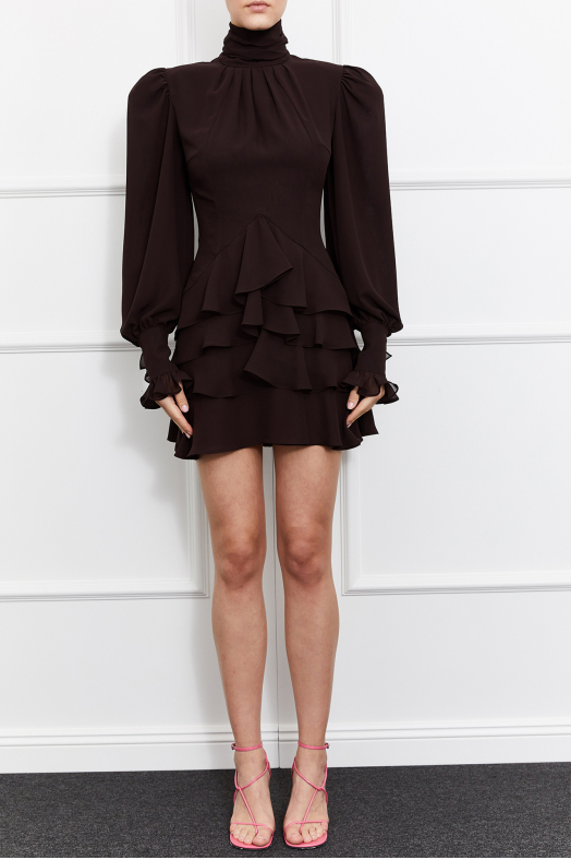 Camellia Turtleneck Dress (Brown)