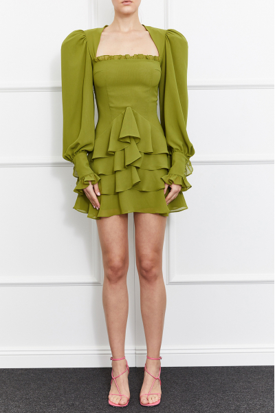 Camellia Square Neck Dress (Green)