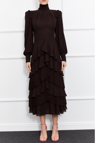 Allia Turtleneck Dress (Brown)