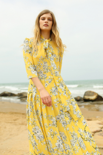 Yellow Floral Pleated Dress