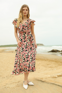 Wrap Floral Detailed Dress