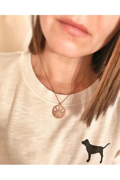 Taş detaylı pati madalyon gümüş kolye Taş detaylı pati madalyon gümüş kolye