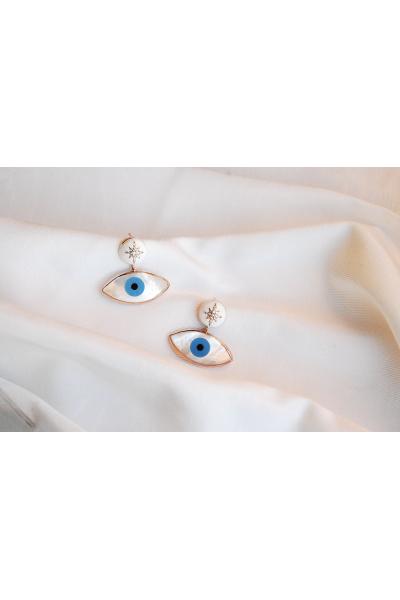 Sedef göz detaylı gümüş evil eye küpe