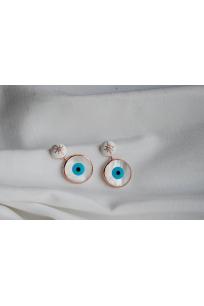 Sedef göz ve mineli evil eye gümüş küpe