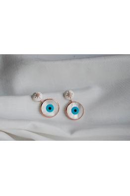 denizsenocakliözula Sedef göz ve mineli evil eye gümüş küpe
