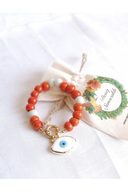 Orange white evil eye bangle