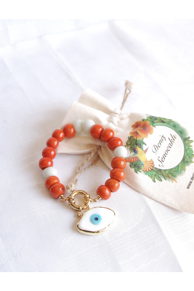 Orange white evil eye bangle Orange white evil eye bangle