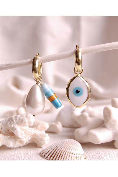 Göz ve cam gümüş küpe