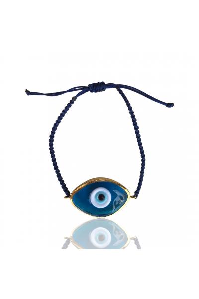 Cam evil eye ayarlanabilir ip bileklik