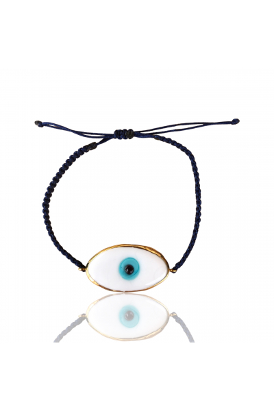 Lacivert ip beyaz göz bileklik