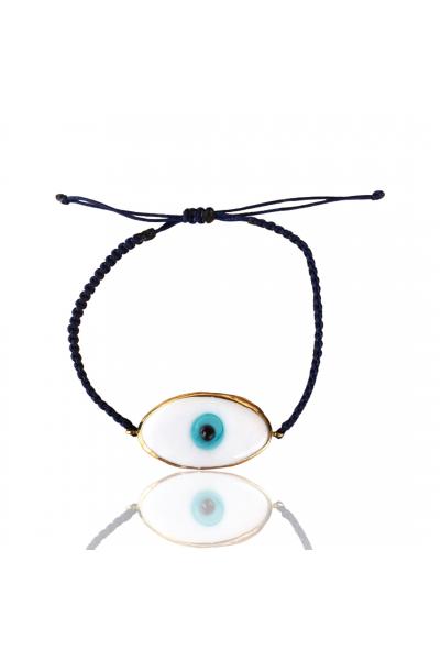 Lacivert ip beyaz göz bileklik Lacivert ip beyaz göz bileklik
