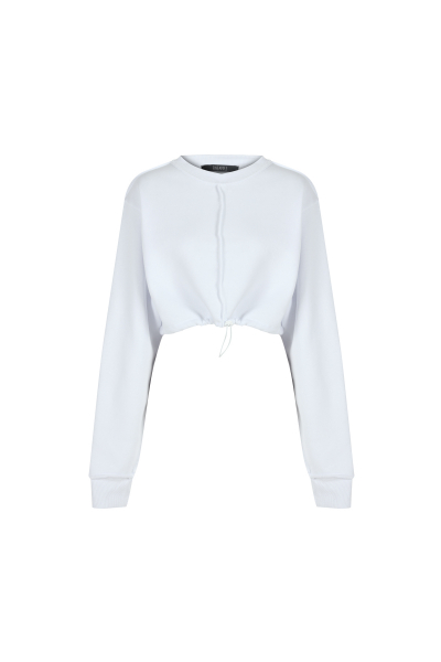 Beyaz Dikiş Detaylı Crop Sweatshirt