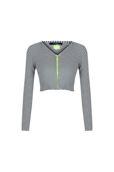 Çizgili Neon Fermuar Detaylı Bluz
