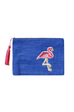 KARVINS Pembe Flamingo Desenli El Yapımı Clutch