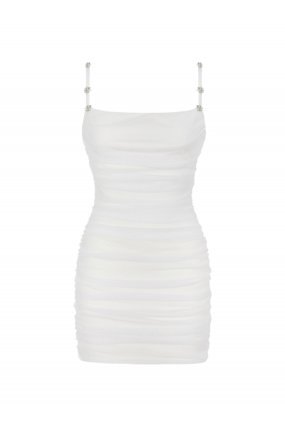 PALOMA Beyaz Drapeli Mini Elbise (Taş Detaylı)