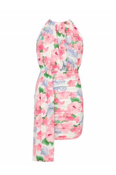 BROOKLYN Halter Yaka Kuyruklu Elbise (Pembe/Mavi Çiçekli)