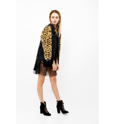 Leopar Detaylı Kot Ceket