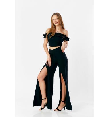 Yırtmaç Detaylı Büstiyer Pantolon Takım (Black)