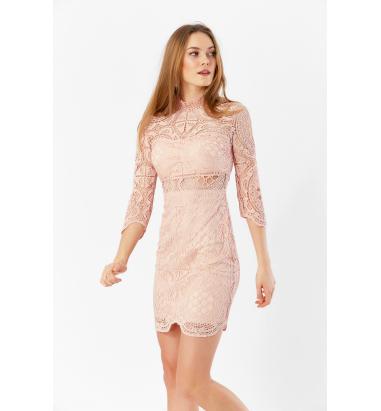 Dantel Detaylı Elbise (Rose)