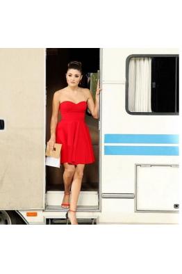 Kırmızı Straplez Krep Elbise