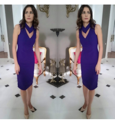 Yaka Detaylı Krep Elbise
