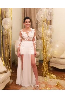 3 Boyutlu Çiçek İşlemeli Wedding Dress