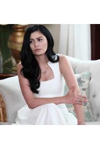 Yaka Detaylı Maxi Krep Elbise-White