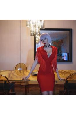 Ateş Kırmızısı Kokteyl Elbise
