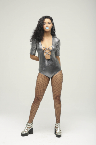 Radiation Holographic Silver Hooded Lace Up Bodysuit Radiation Holographic Silver Hooded Lace Up Bodysuit